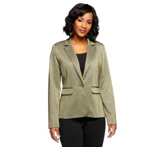 """As Is"" Kelly by Clinton Kelly Button Front Knit Blazer - A268284"