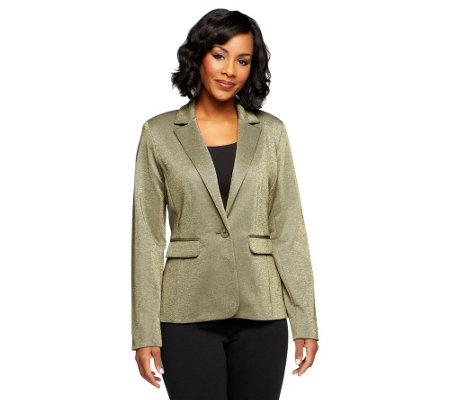 """As Is"" Kelly by Clinton Kelly Button Front Knit Blazer"