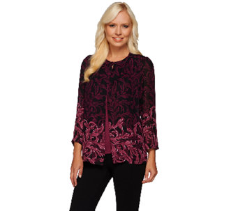 Bob Mackie's Printed Georgette Cardigan and Tank Set - A268384