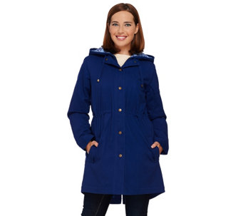 Denim & Co. Zip Front Parka with Pattern Hood Detail - A270184