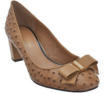 Judith Ripka Ostrich Texture Leather Heels w/ Bow Detail - Olivia - A270484