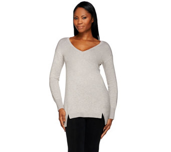 H by Halston V-neck Long Sleeve Hi-Low Hem Sweater Tunic - A272284