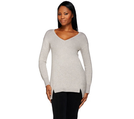 H by Halston V-neck Long Sleeve Hi-Low Hem Sweater Tunic