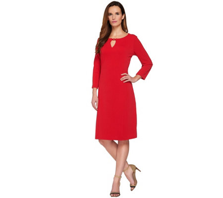 Susan Graver Passport Knit 3/4 Sleeve Dress with Keyhole