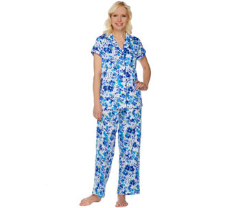 Carole Hochman Cotton Jersey Spring Collage Notch Collar PJ Set - A273584