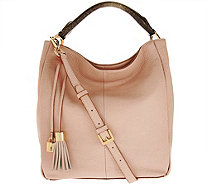 G.I.L.I. Italian Pebble Leather Hobo Bag with Edge Paint - A273684