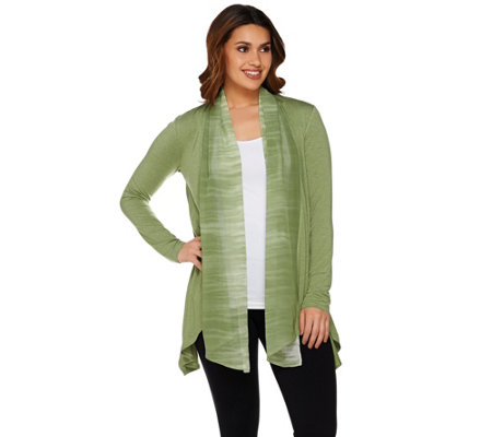 LOGO by Lori Goldstein Knit Cardigan with Ombre Chiffon Trim