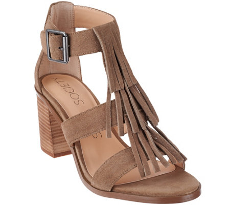 Sole Society Suede Fringe Block Heel Sandals - Delilah