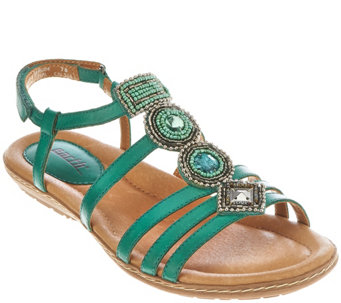 Earth Leather Embellished Multi-strap Sandals - Seaside - A274784