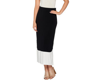 LOGO by Lori Goldstein Pull-On Color-Block Knit Maxi Skirt - A274984