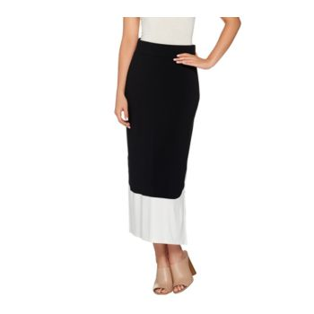LOGO by Lori Goldstein Pull-On Color-Block Knit Maxi Skirt