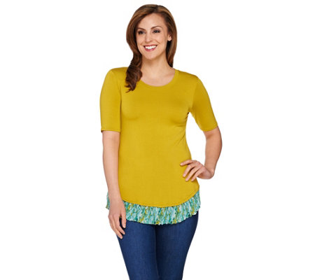 LOGO by Lori Goldstein Knit Top with Printed Chiffon Pleated Hem