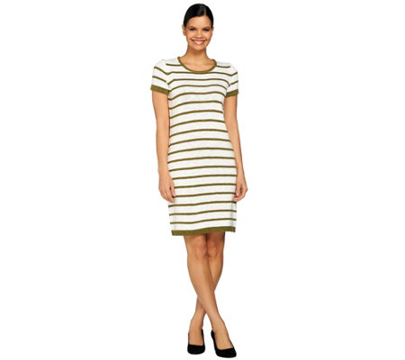 C. Wonder Short Sleeve Striped Knee Length Sweater Dress