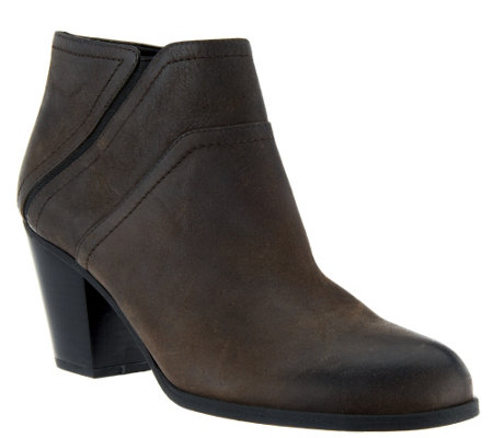 """As Is"" Franco Sarto Leather Ankle Boots - Domino"