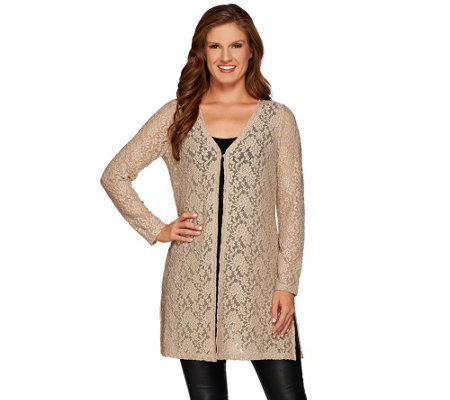 """As Is"" Susan Graver Stretch Lace Open Front Long Cardigan"