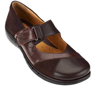 """As Is"" Clarks Un.Structured Leather Mary Janes w/ Adj. Strap - Un.Swan - A278684"