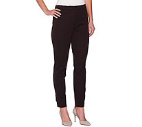 Susan Graver Coastal Stretch Zip Front Ankle Pants w/ Faux Pockets - A278884