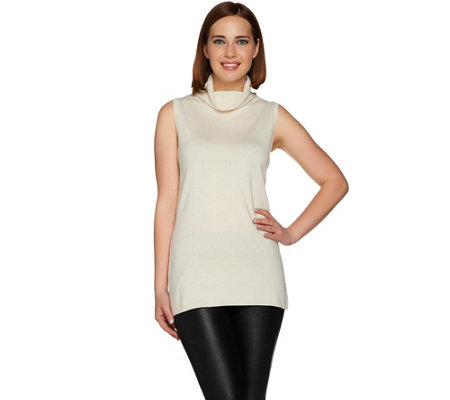 H by Halston Silk-Cashmere Blend Sleeveless Turtleneck