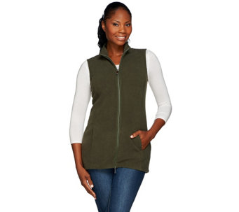 """As Is"" Denim & Co. Zip Front Fleece Vest with Pockets - A281384"