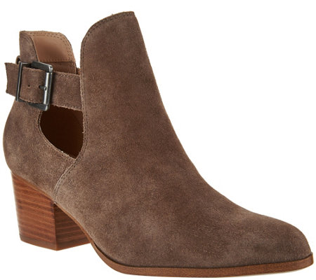 Sole Society Suede Cut-out Ankle Boots - Olive