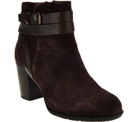 Clarks Suede Side Zip Ankle Boots - Enfield River