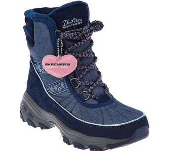 Skechers D'Lites Lace-up Faux Fur Winter Boots - Chateau - A283084