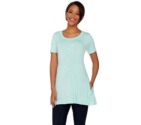 """As Is"" LOGO by Lori Goldstein Petite Scoop Neck Knit Top with Pockets"