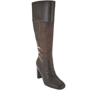 Isaac Mizrahi Live! Leather & Suede Tall Boots with Embossing - A284684