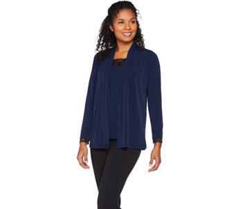 Susan Graver Liquid Knit Cardigan and Tank Set with Lace Inset - A284784