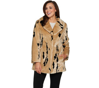Dennis Basso Gold Collection Minimal Lynx Faux Fur Coat - A285584