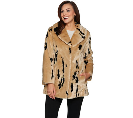 Dennis Basso Woven Minimal Lynx Faux Fur Coat with Collar