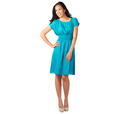 """As Is"" CV by Cynthia Vincent Knee Length Smocked Waist Woven Dress"