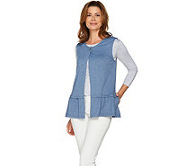LOGO Lounge by Lori Goldstein French Terry Vest with Ruffle Detail - A286984