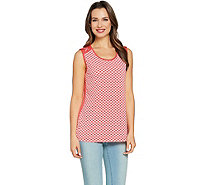 Susan Graver Printed Liquid Knit Sleeveless Top with Lacing - A288484