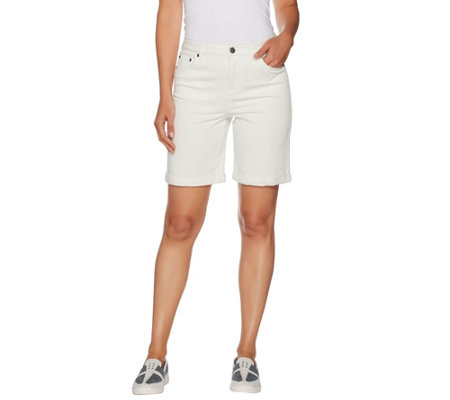 LOGO by Lori Goldstein 5-Pocket Stretch Twill Bermuda Shorts