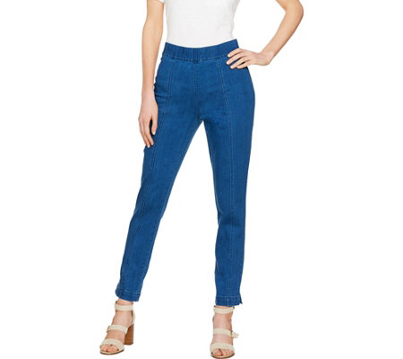 C. Wonder Petite Denim Pull-On Ankle Jeans with Seam Detail
