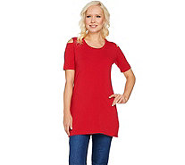 Denim & Co. Petite Perfect Jersey Cold Shoulder Elbow Sleeve Tunic - A290284