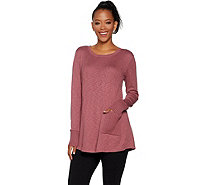 LOGO by Lori Goldstein Slub Sweater Knit Top with Side Godets - A294684