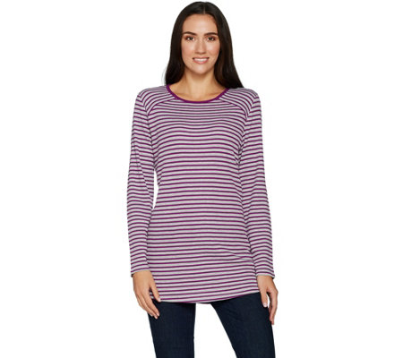 Denim & Co. Active Striped Waffle Knit Long Sleeve Tunic