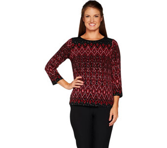 Bob Mackie's Long sleeve Placement Print Knit Top - A298684