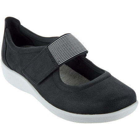 """As Is"" Clarks Cloud Steppers Adjustable Mary Janes - Sillian Cala"