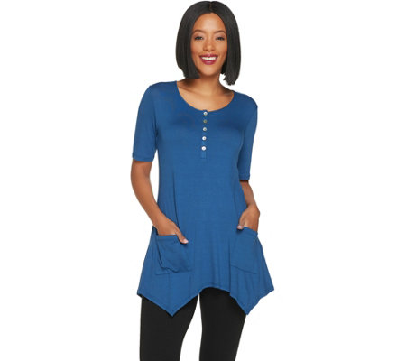 LOGO by Lori Goldstein Solid Crepe Henley Top with Patch Pockets