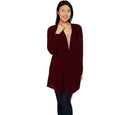"""As Is"" Isaac Mizrahi Live! 2-Ply Cashmere Open Front Fringe Cardigan"