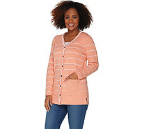 Martha Stewart Button Front Striped Cardigan with Pockets - A307684