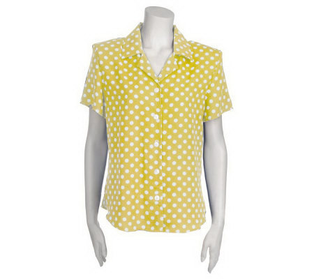 Susan Graver Polka Dot Notch Collar Camp Shirt