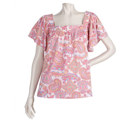 Lilly & Van Printed Jersey Knit Short Sleeve Top