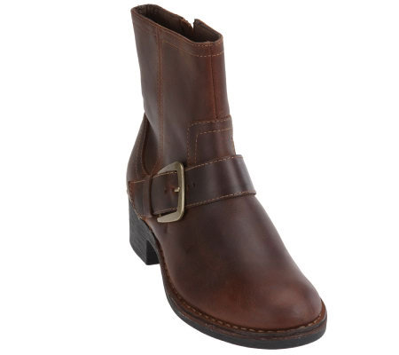 clarks bendables leather ankle boots w buckle detail