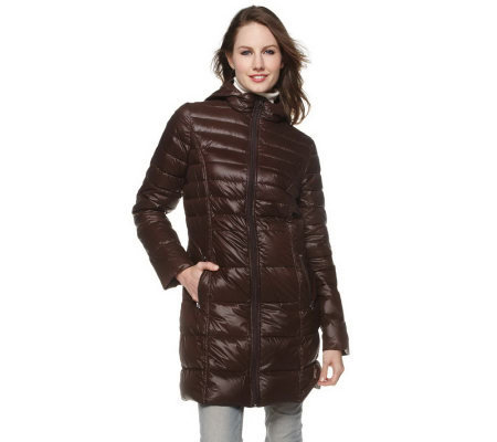 Bernardo Packable Long Down Coat with Hood