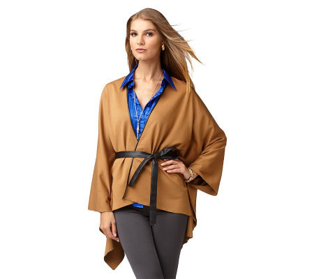 LOGO by Lori Goldstein Cape with Faux Leather Details