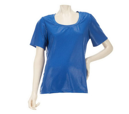 Susan Graver Textured Knit U-neck Top with Short Sleeves